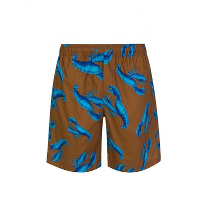 Brown Lobster Print Shorts