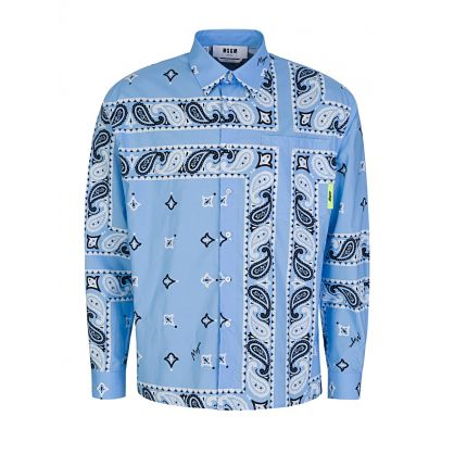 Blue Long-Sleeve Signature Bandanna Shirt