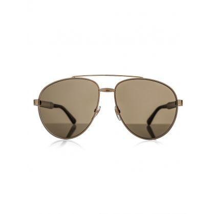 Gold Aviator Metal Sunglasses
