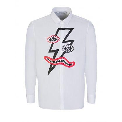 White Thunderbolt Face Print Shirt