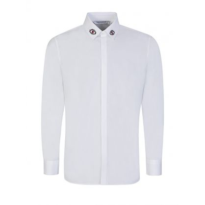 White Slim Fit Eye Print Shirt