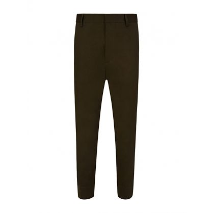 Green Cotton Twill Cropped Trousers
