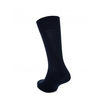 Navy 2pk Ribbed Socks