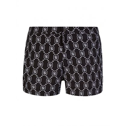 Black All-Over Monogram Swim Shorts
