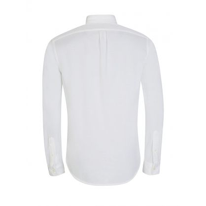 White Long-Sleeve Knit Oxford Shirt