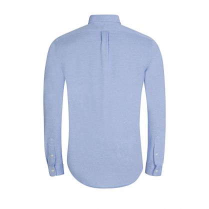 Blue Long Sleeve Knit Oxford Shirt