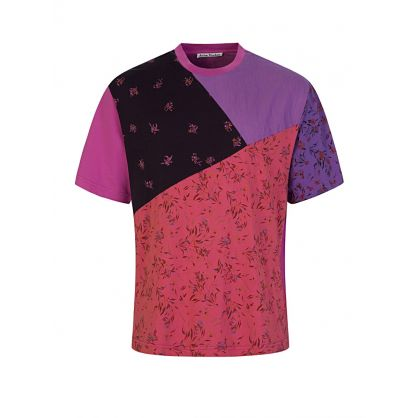 Pink Floral-Print Patchwork T-Shirt