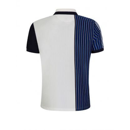 White Cut-Up Stripe Polo Shirt