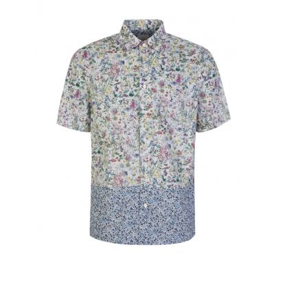 White Floral Short-Sleeved Shirt