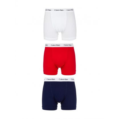 3-Pack Boxer Trunk in White, Red and Blue