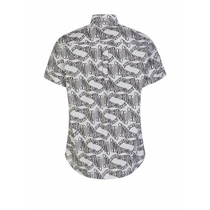 White Short Sleeve Multi-Logo Shirt