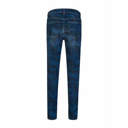 Blue Slim-Fit Multi Logo Jeans