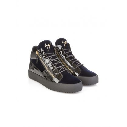 Navy Velvet Veronica Mid-Top Trainers