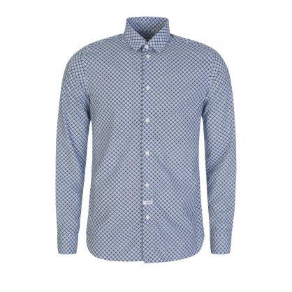 Blue Slim Fit Tiger Monogram Shirt