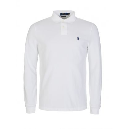 White Custom Slim Long-Sleeve Polo
