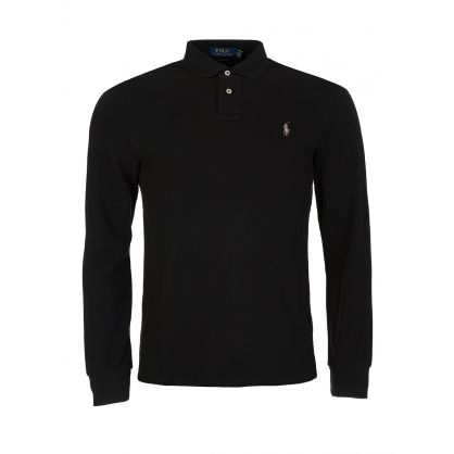 Black Custom Slim Long-Sleeve Polo