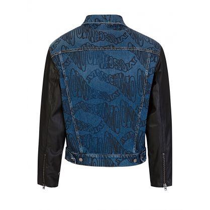 Blue Warped Logo Denim Jacket