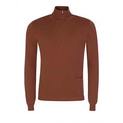Rust 1/4 Zip High Neck Jumper