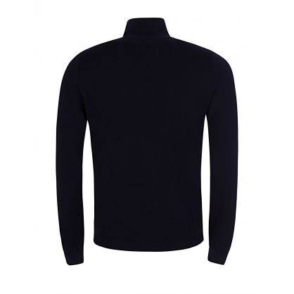 Navy Blue 1/4 Zip High Neck Jumper