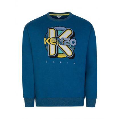 Blue Oversized Wetsuit Sweatshirt