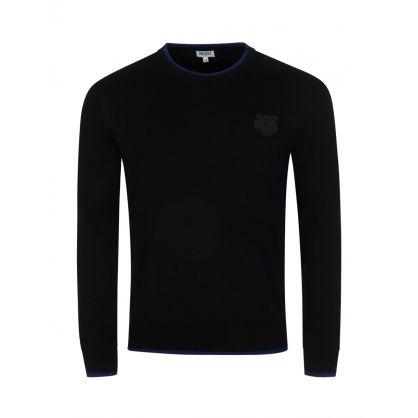 Black Tiger Crest Knitted Jumper