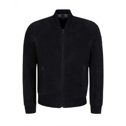 Navy Suede Harbour Bomber Jacket