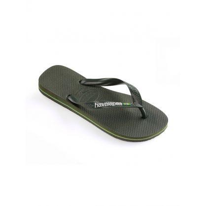 Green Brazil Logo Flip-Flops