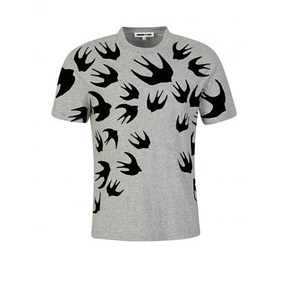 Grey Dropped Shoulder Swallow T-Shirt