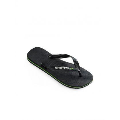 Black Brazil Logo Flip Flops