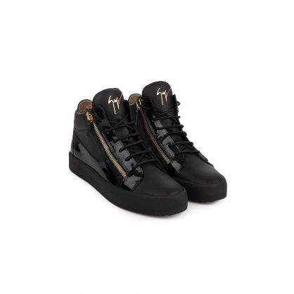 Black Mid Top Leather Kriss Trainers