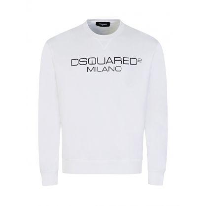 White Milano Print Sweatshirt