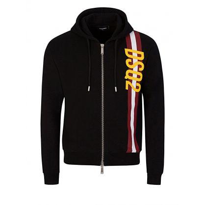 Black Stripe Detail Zip-Through Hoodie