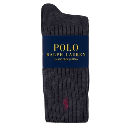 Charcoal Polo Player Ribbed Socks