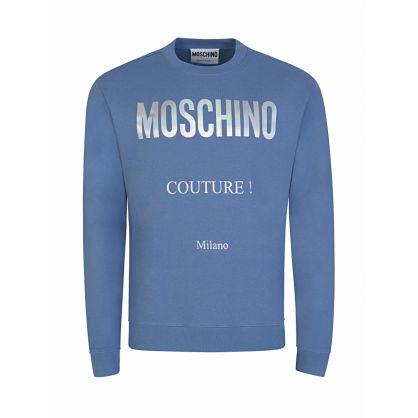 Blue Couture Lamé Print Logo Sweatshirt