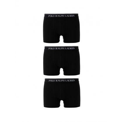 Black/Black/Black Classic Cotton Trunks 3-Pack