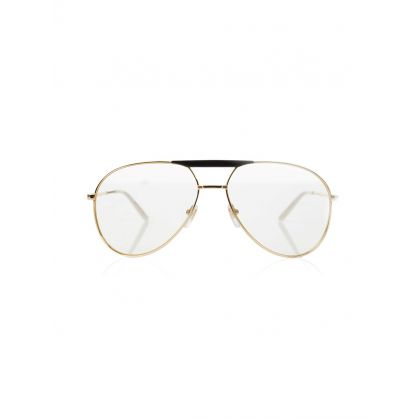 Gold Aviator Transparent Glasses