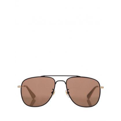 Black/Gold/White Aviator Sunglasses