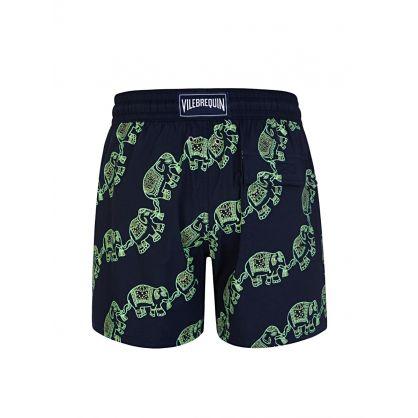 Navy 'GLOW' Elephants Dance Swim Shorts