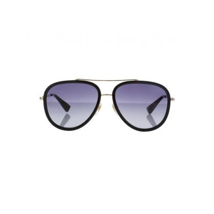 Gold/Brown Aviator Bee Logo Sunglasses