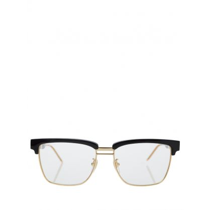 Black Acetate Square Metal Sunglasses