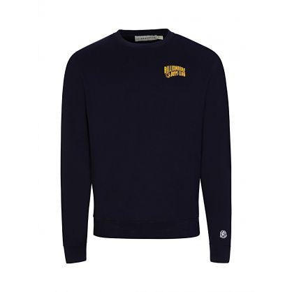 Navy Small Arch Logo Print Sweatshirt