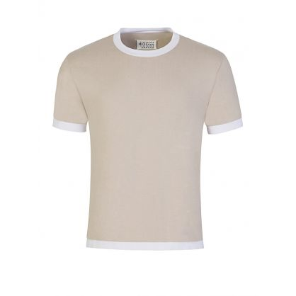 Beige Gauge Short Sleeve Jumper