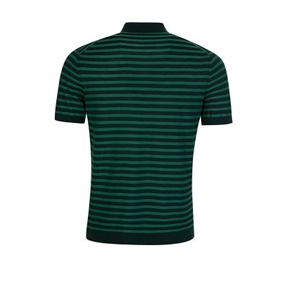 Green Stripe Light Merino Knit Polo Shirt