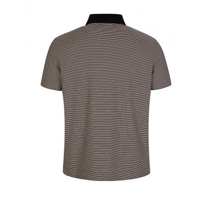 Beige Striped Jersey Polo Shirt