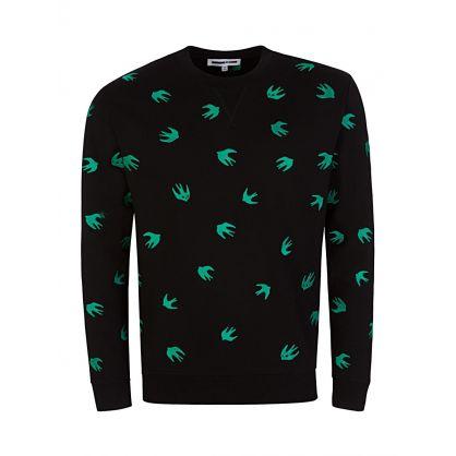 Black Printed Swallow Sweatshirt