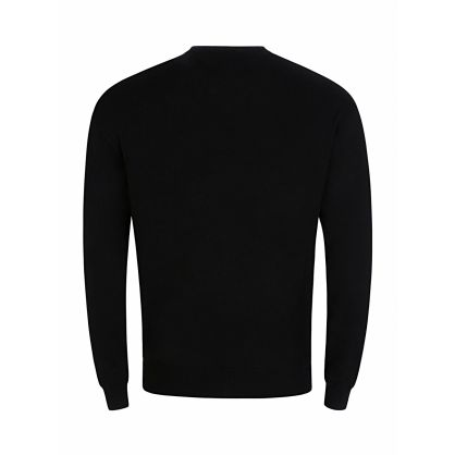 Black Wool Patterned Jumper