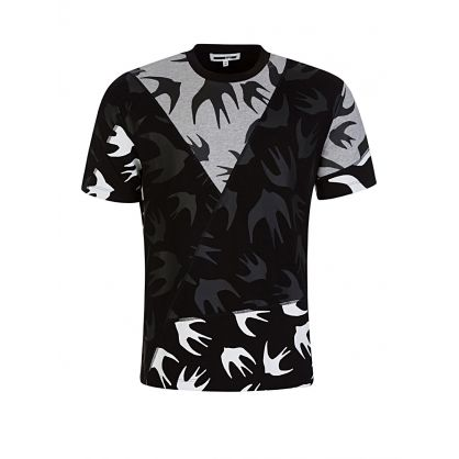 Black Swallows Print T-Shirt