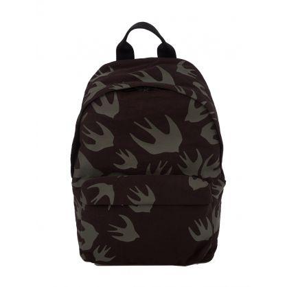 Khaki Swallows-Print Backpack
