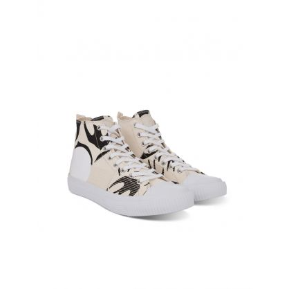 Cream Canvas Swallow Trainers