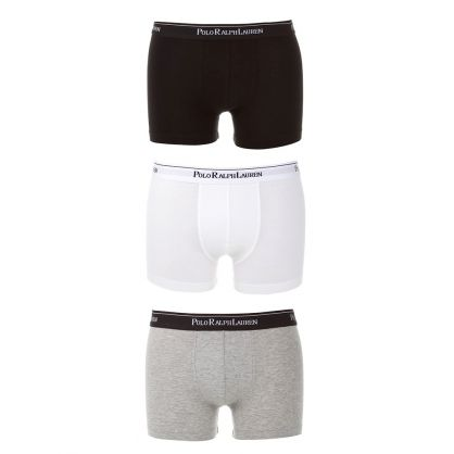 White/Black/Grey Classic Cotton Trunks 3-Pack